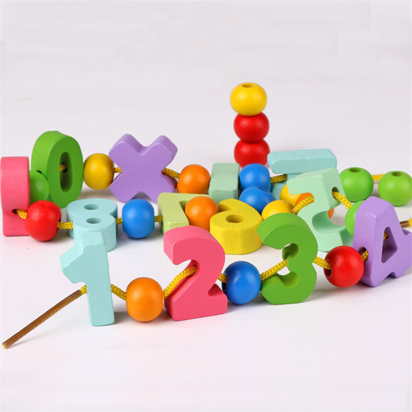 33 Pcs/Lot Colorful Wooden Digital Number Beads Toys Block Stringing Threading Beads Game Education Toy For Baby Kids Children