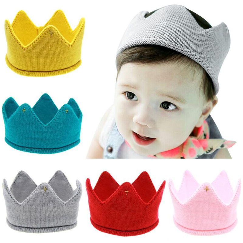 Hot and nice design Woolen Yarn Cute Baby Boys Girls Crown Knit Headband Hathair accessories hat tiaras infantil
