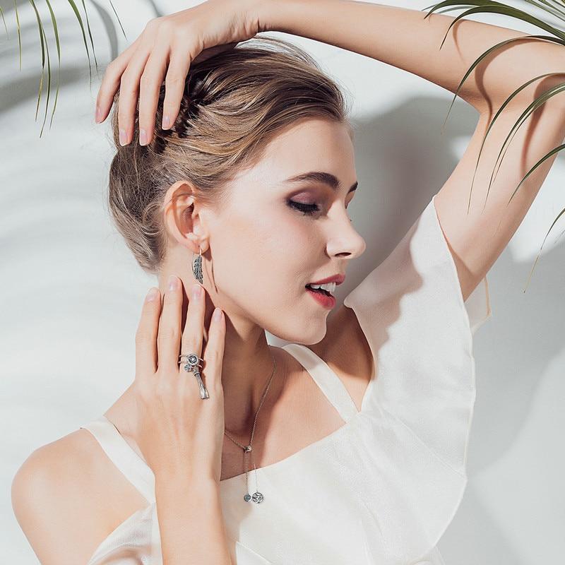 BAMOER Fashion 925 Sterling Silver Vintage Feather Wings Long Drop Earrings for Women Sterling Silver Jewelry Brincos SCE215