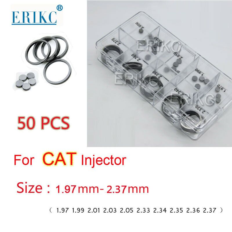 ERIKC Gasket Thickness 1.97 2.37mm 50pcs CAT Diesel Injector Nozzle Adjust Shims CR Repair Washer for CAT C6.6 C6. 4 Injector