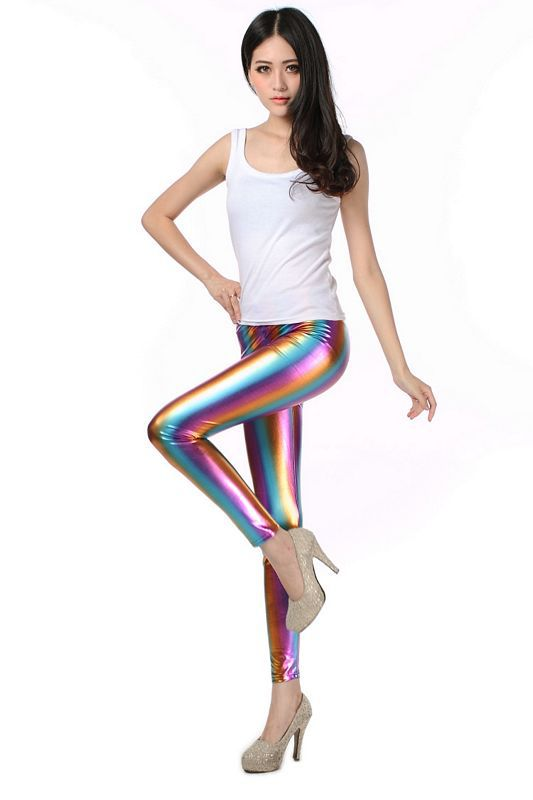 Woman Spring Rainbow Skinny Leggings   Pants   Female Summer Imitation Pu Pencil Trousers Women Stretch   Capris   Lady Fall Mid   Capris