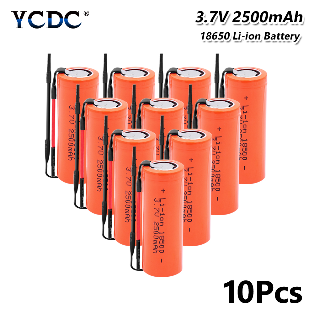 Rechargeable <font><b>Li</b></font>-Po Lithium high-discharge high current + DIY Linie <font><b>18500</b></font> <font><b>Li</b></font>-<font><b>ion</b></font> <font><b>Battery</b></font> <font><b>3.7V</b></font> 2500mAh <font><b>Batteries</b></font> for flashlight image