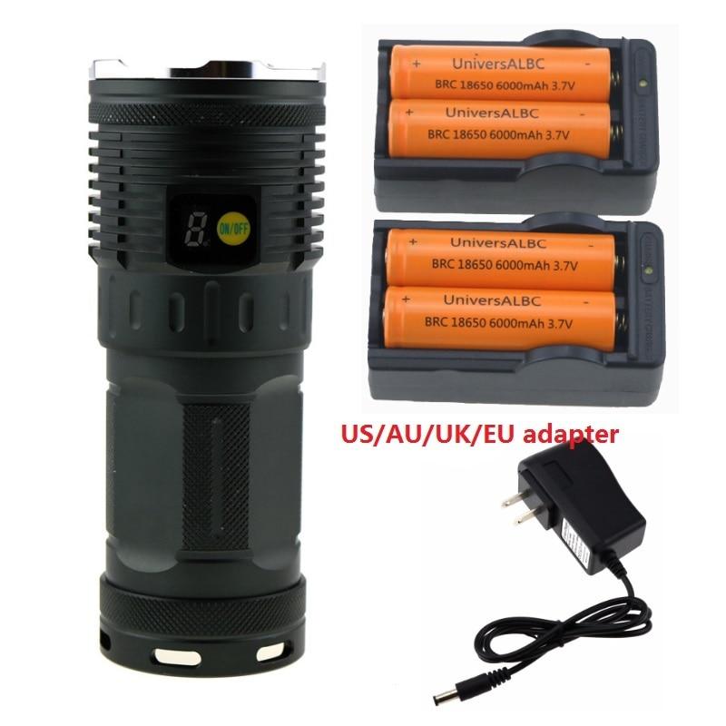 <font><b>10000</b></font> lumen 7R8 Tactical LCD Display Led Flashlight 7xCree XM-L R8 Led Bike <font><b>Light</b></font> Torch Lamp + 4x 18650 Battery +2x Charger