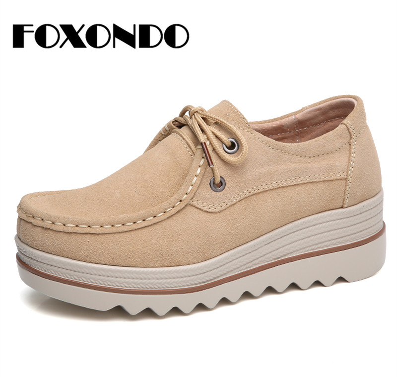 FOXONDO 2018 Autumn women flats thick soled   leather     suede   platform sneakers shoes female casual shoes lace up flats creepers3089