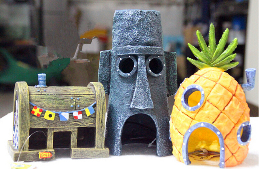 3pc/lot Pineapple House Decoration SpongeBob landscaping aquarium home aquarium ornaments ...
