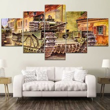 5 Panels Modular Tank Made Picture Home Room Decor Canvas Paintings on Wall Art for Decorations