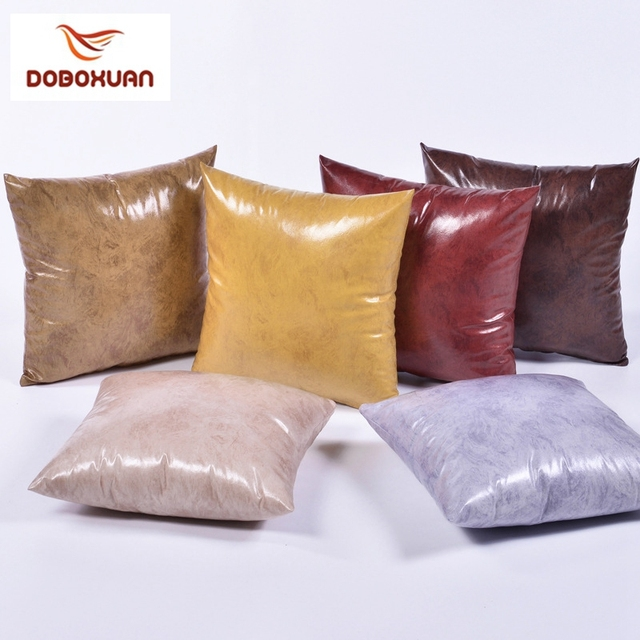 Imitation Leather Solid Color Decorative Pillow Cover Blue Red Adorable Red And Brown Decorative Pillows