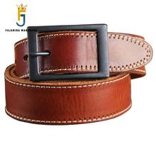 Top Quality Men's Retro Luxury Fashion Genuine Leather Men Pin Buckle Belts for Men Casual Cow Leather 3.8cm Wide Belt N17FJ092