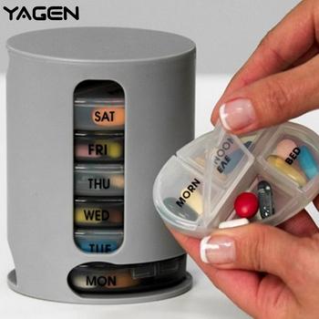 2018 nowy 7 dni pojemnik na leki Pro futerał do przechowywania kompaktowy zorganizować Mini pudełko do przechowywania tabletek wygodny schowek medyczny pigułki Pro tanie i dobre opinie Przypadki i rozgałęźniki pigułka YAGEN