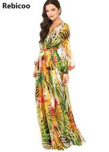 Women Summer V Neck Long Sleeve Floral Printed Maxi Party Dress Vestidos Mujer Verano 2018