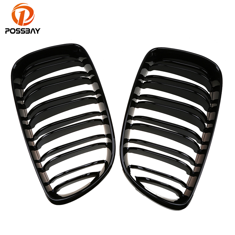 Shiny Gloss Black Double Line Front Center Grill Grille Strip Decoration For BMW 1 Series E87