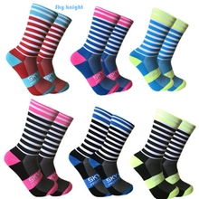 Color Stripe Sports Riding Socks Long Tube Compression Bike Men And Women Wear Breathable Road Cycling