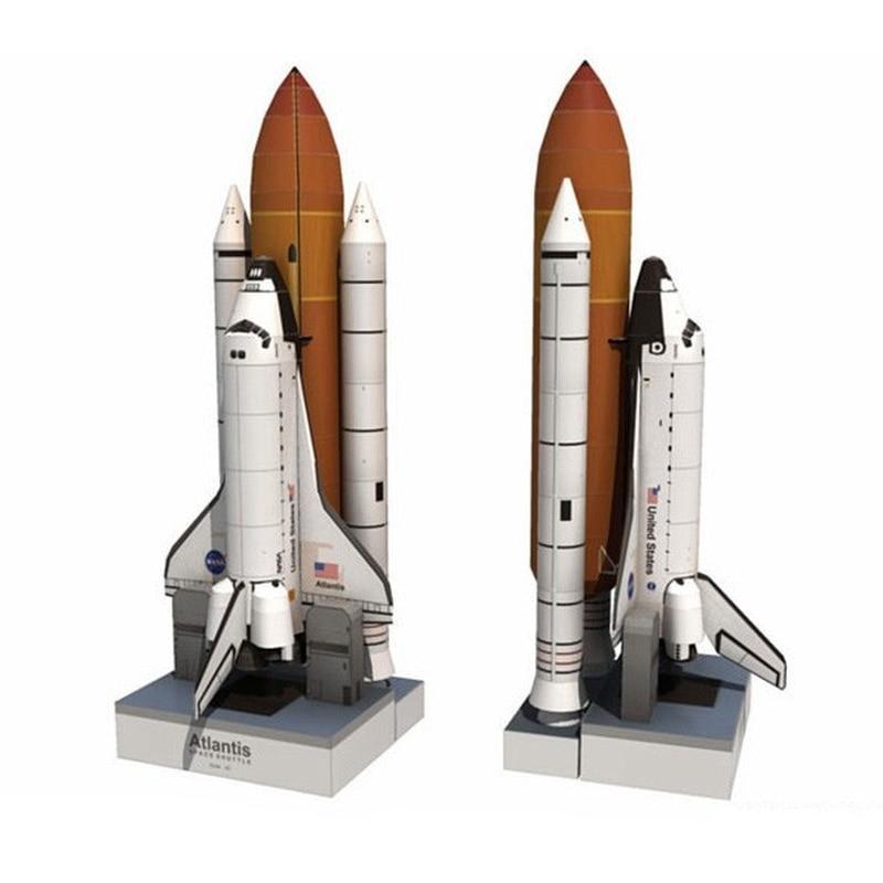 Modèle en papier 3D, bibliothèque spatiale papeterie en carton pour enfants, jouets en papier, jouets en papier 1: 150 navette Puzzle Atlantis fusée fait main