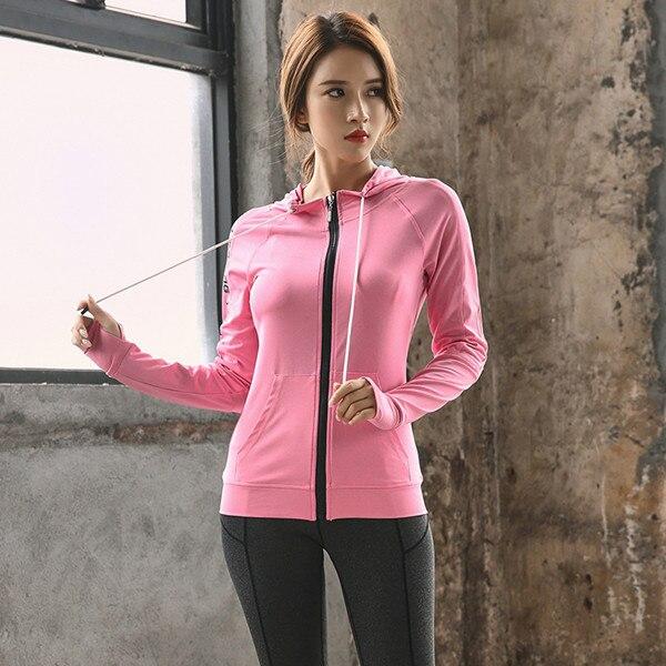 Горячая Женская спортивная куртка с капюшоном для фитнеса спортивная куртка теннисная одежда для футбола спортивная женская баскетбольная Толстовка - Цвет: Розовый