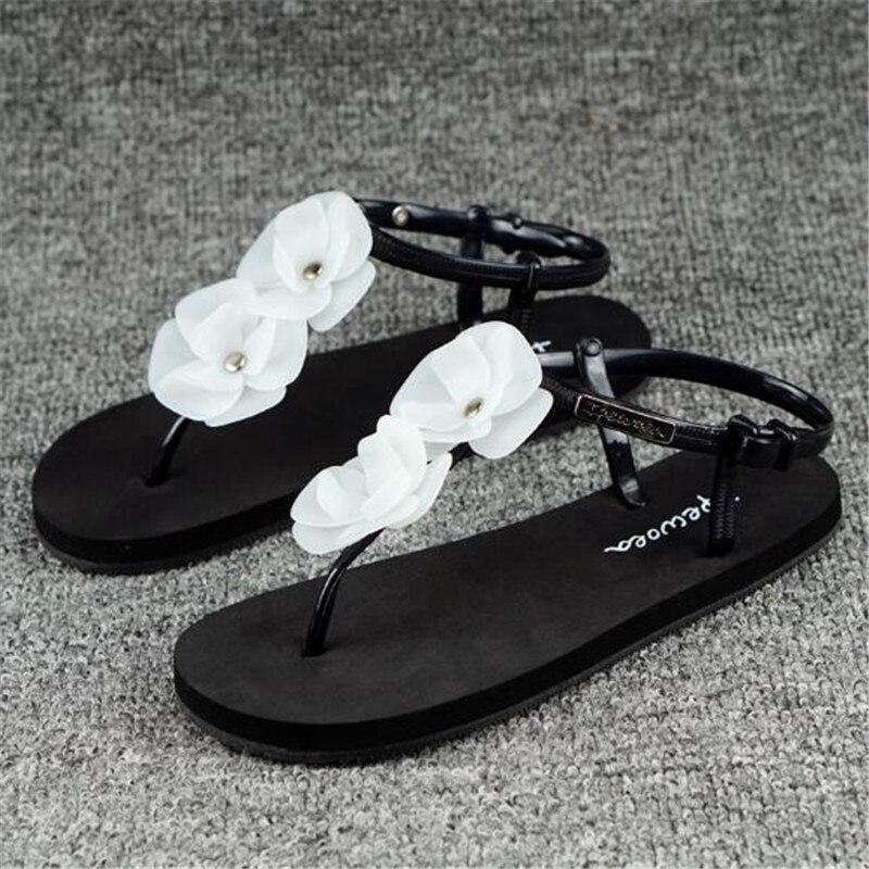 Poadisfoo Women Beach Shoes Flip Flops Slippers Flower