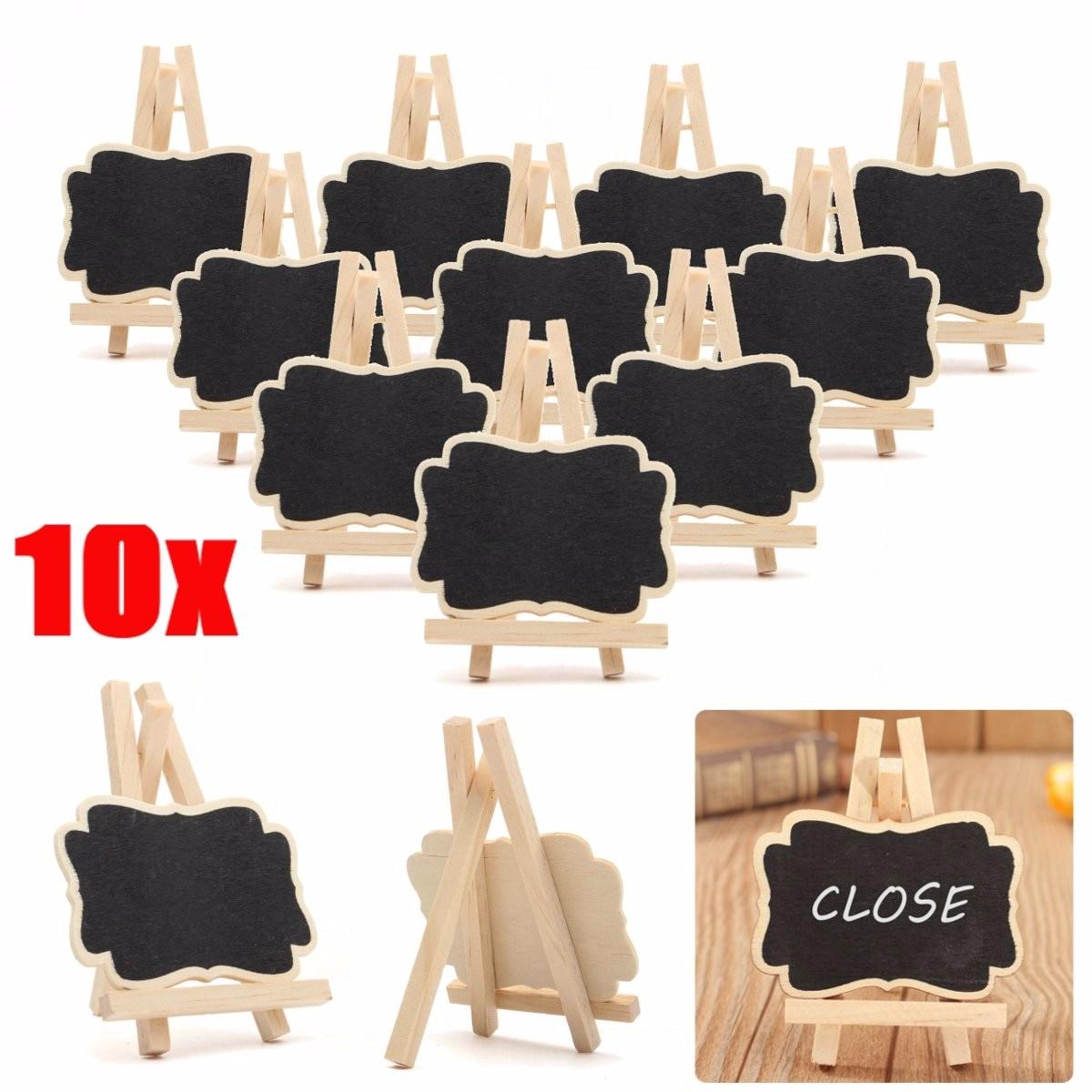 10pcs/lot Wooden Mini Blackboard Chalkboard Message Sign Crafts Decoration Wedding Party Decoration Marriage Supplies 9cm*6.7cm