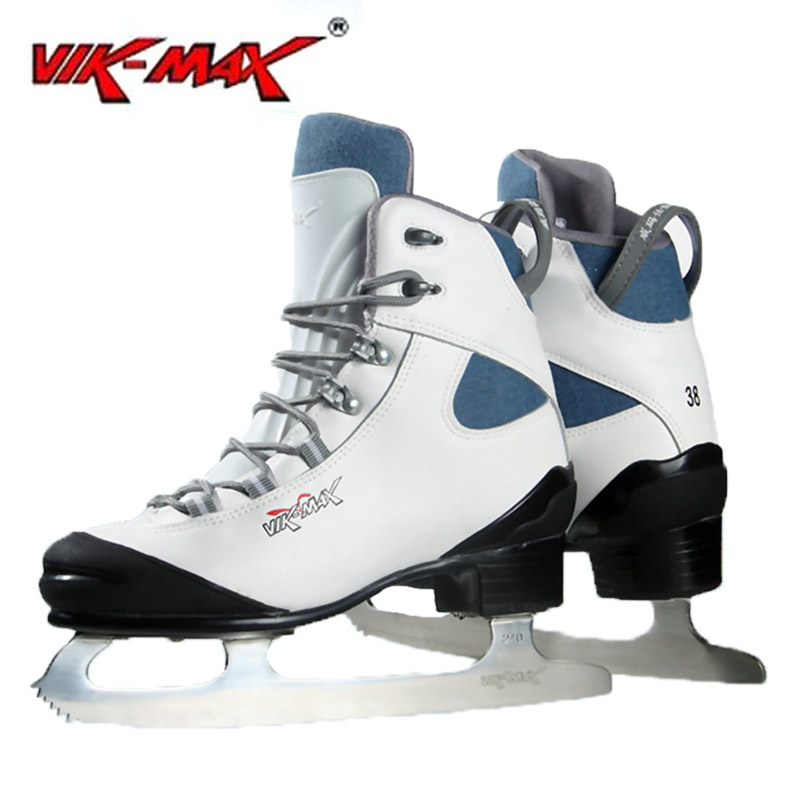 VIK-MAX breathable figure skate shoes with stainless steel ice blade new style white