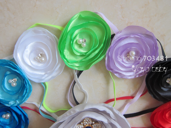 "free shipping Baby Headbands 2.2"" Layered Satin Flower Fabric Flowers with thin headbands for girls headwear 30pcs/lot"