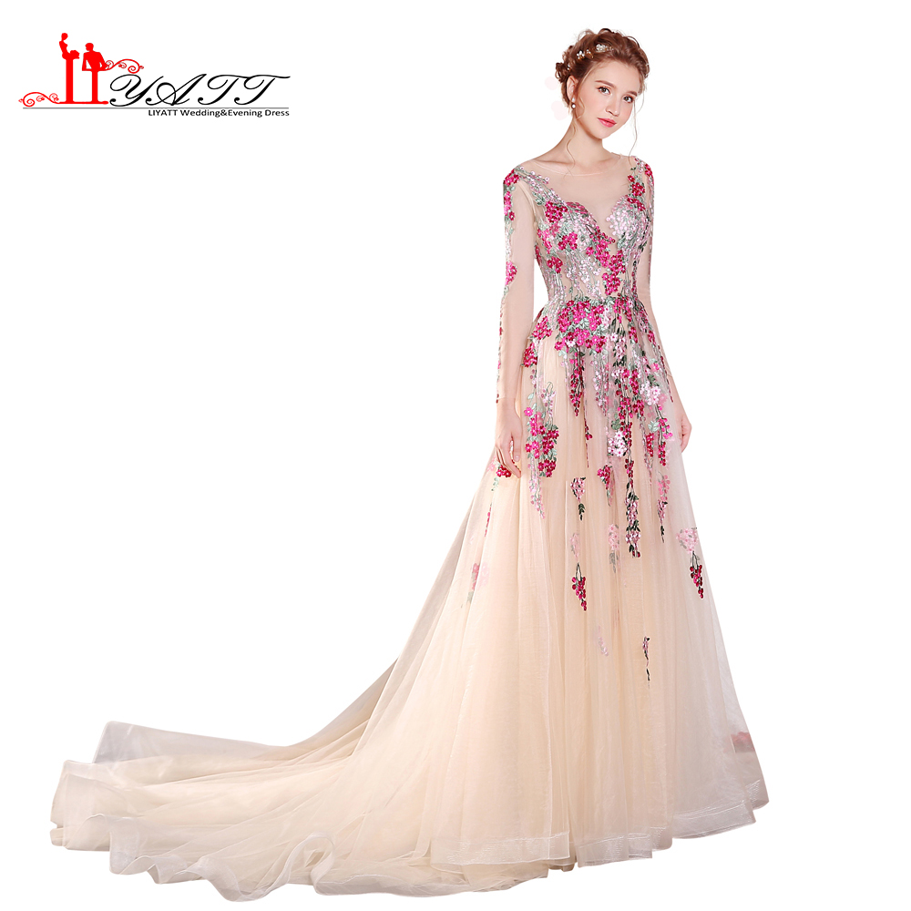 2017 New Design Prom Dress Evening Gown Colorful Appliques Lace Embroidery Champagne Sexy See Through Cheap Women Gown LIYATT