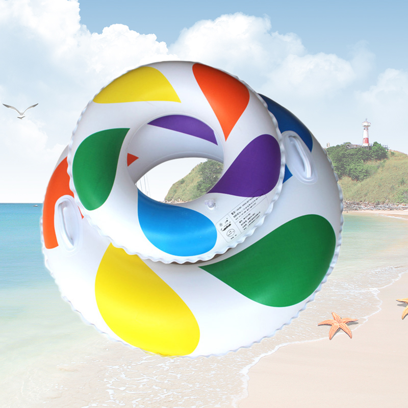 Outdoor Swim Rings Adult Childrens Summer Inflatable Colorful Swim Ring Swimming Pool Boardwalk Swimming Protection Ring