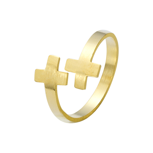 Open Cross Ring Gold Anillos Hombre Stainless Steel Jewelry Silver Religious Ring Wedding Gifts Handmade Bague Femme Bijoux