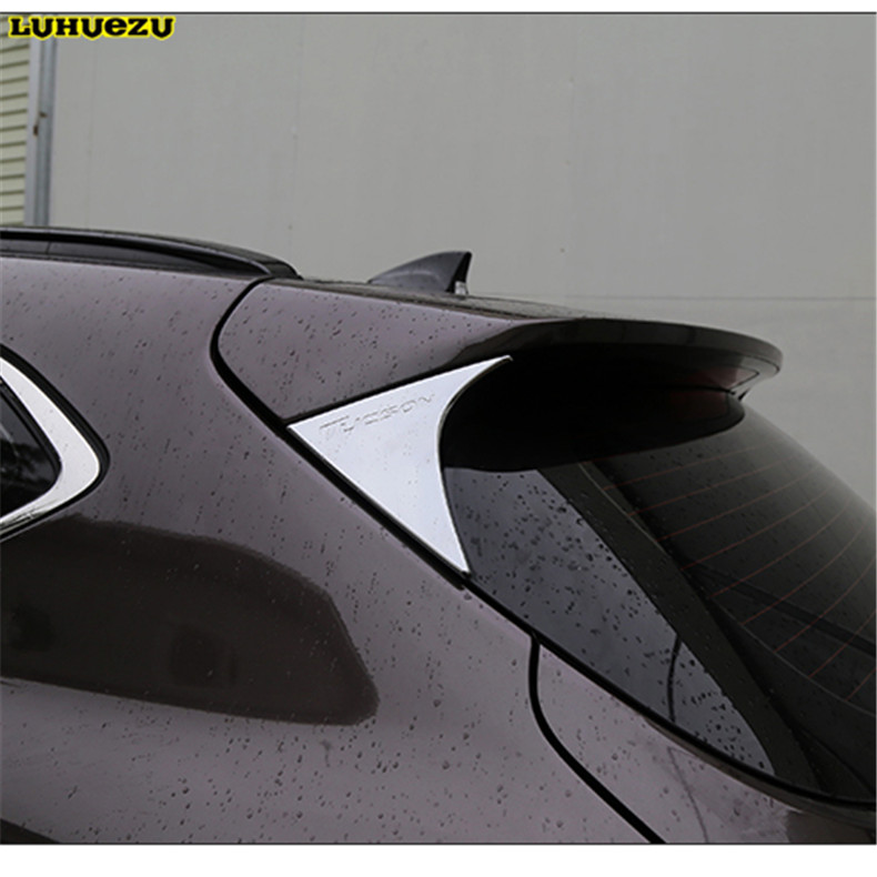 Image 2 - ABS Car Rear Spoiler Conner Rear Door cover Decorative Trims For  Hyundai Tucson 2015 2016 2017 2018 Accessories-in Chromium Styling from Automobiles & Motorcycles