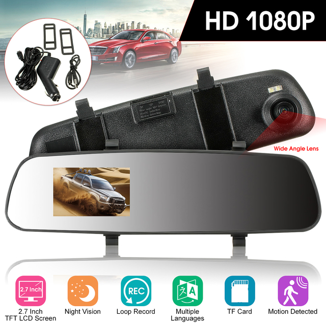 Audew Car HD 2.7'' 1080P TFT Rearview Mirror Dash DVR Cam Rear View Camera