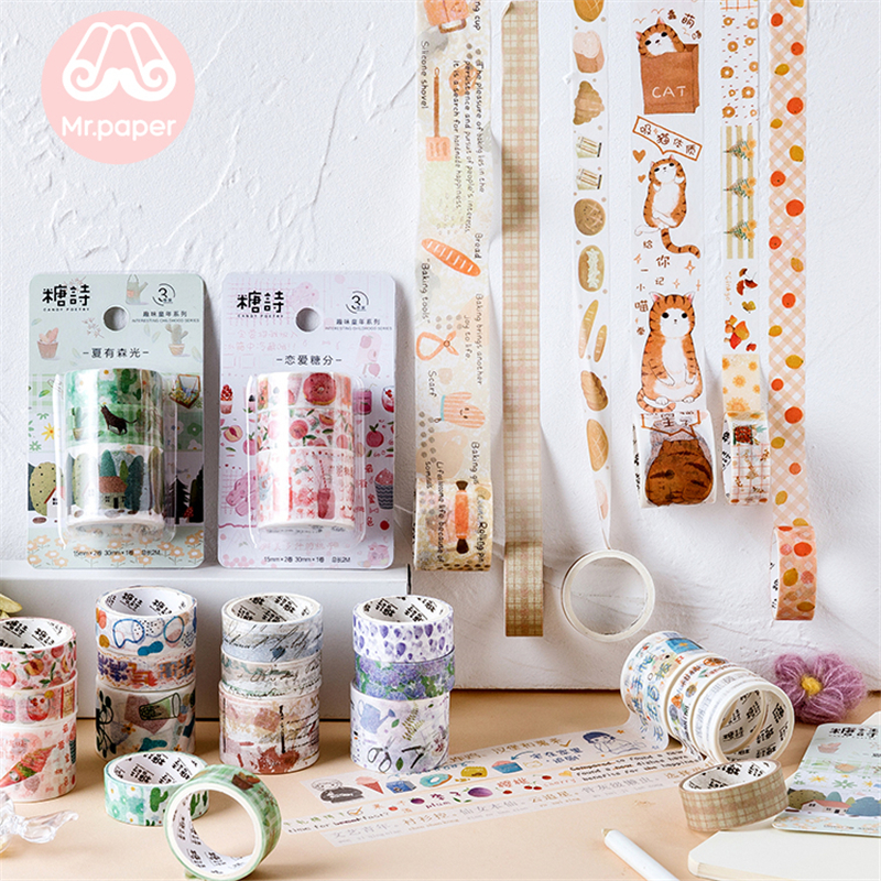 Mr Paper 3pcs/set Kawaii Cute Cartoon Scrapbooking DIY Deco Washi Tapes Bullet Journaling Decoration Masking Tapes 15mm/30mm