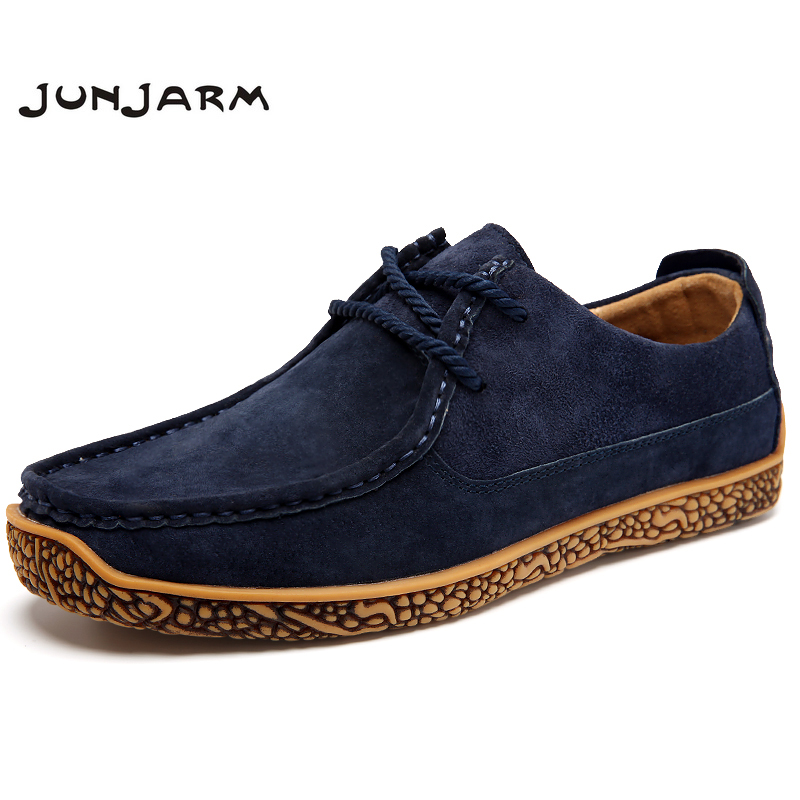 JUNJARM 2017 Men Leather Shoes Casual Loafers Soft Comfortable Oxfords Non-slip Flats Luxury Brand Designer Shoes Zapatos Hombre fashion brand genuine leather shoes for women casual mother loafers soft and comfortable oxfords lace up non slip flat moccasins