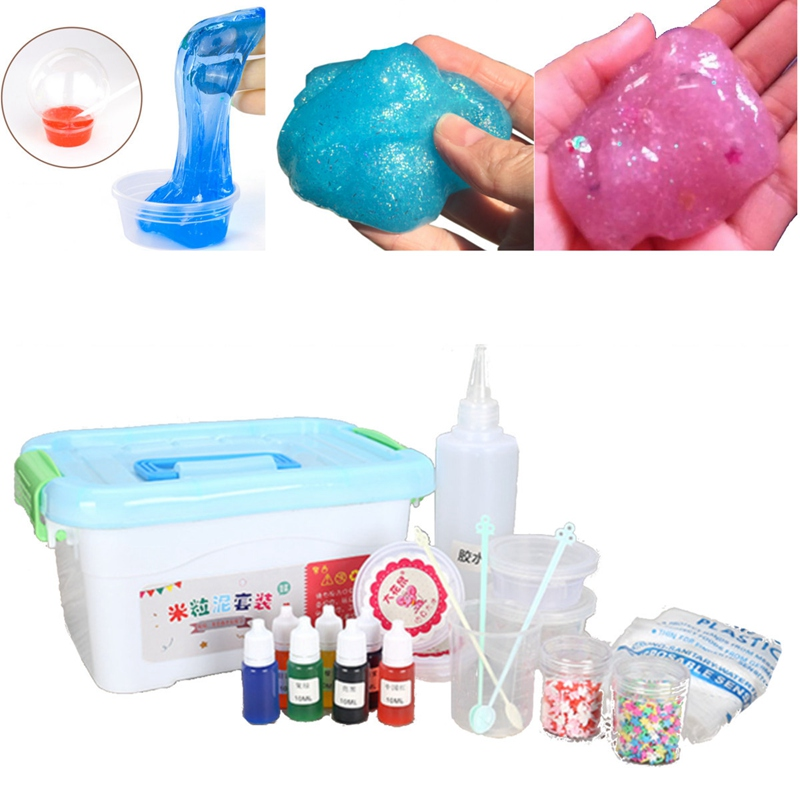 Hand DIY Slime Kit Crystal Clay Mud Playdough Jelly Magic Plasticine Sensory Play Science Party Games