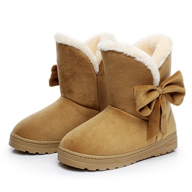 Snow Boots Solid Color And Bows Women'S