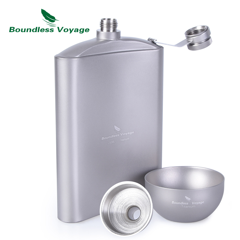 Boundless Voyage Outdoor Titanium Hip Flask Cup Set with Funnel Camping Picnic Pocket Whiskey Wine Mug