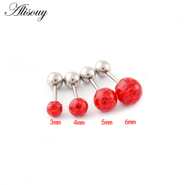 Alisouy 2pcs/lot 3/4/5/6mm 316L Stainless Steel Epoxy Crystal Threaded Ball Body Piercing Jewelry 20GLip Labret Eyebrow Ear Ring 1