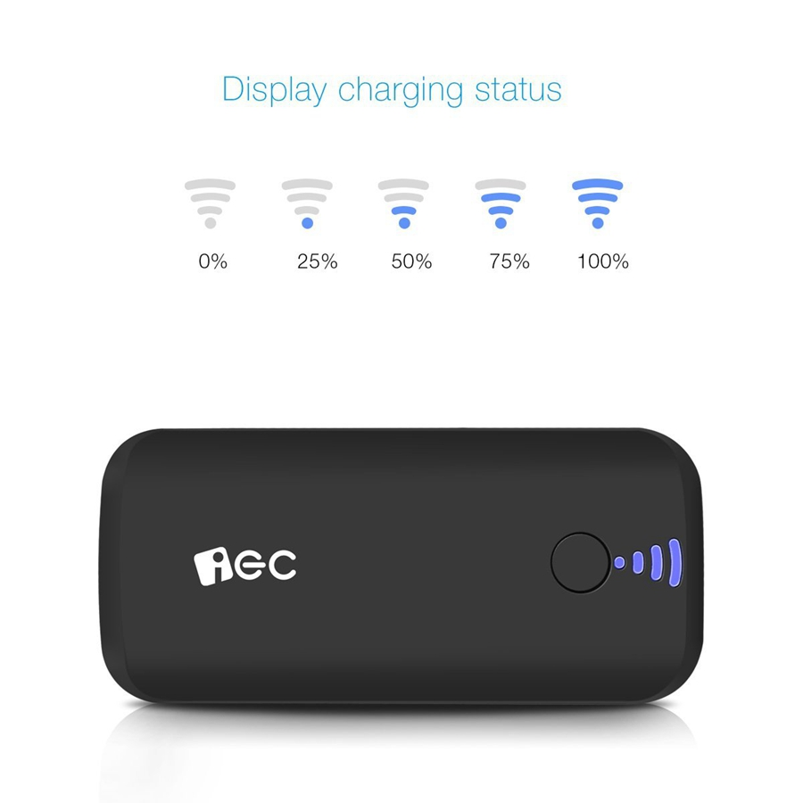 EC Technology Portable External Battery Charger Power Bank 5000 mah Fast Charging LED light mi Powerbank