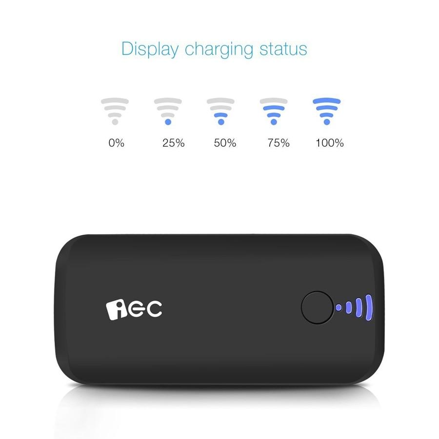 EC Technology Portable External Battery Charger Power Bank 5000 mah Fast Charging LED light mi Powerbank