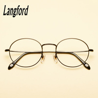 langford brand optical frames pure titanium round eyeglasses frame gold eyeware Vintage spectacle prescription glasse8288