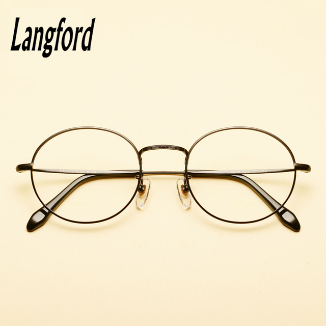 290ec27cd3 langford brand optical frames pure titanium round eyeglasses frame gold  eyeware Vintage spectacle prescription glasse8288