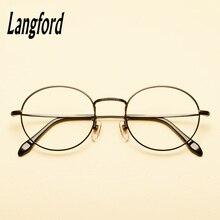 9273a24355 Langford marca marcos ópticos puro titanium ronda gafas de marco de oro de  eyeware Vintage espectáculo receta glasse8288