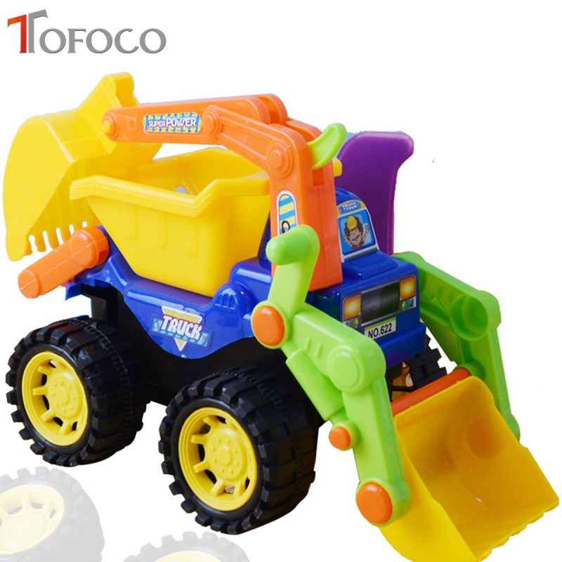 TOFOCO 24cm Large Size Beach Truck Toy Model Children DIY Machine Excavator Engineering Big Car Toys For Boy Plastic Vehicle Gif