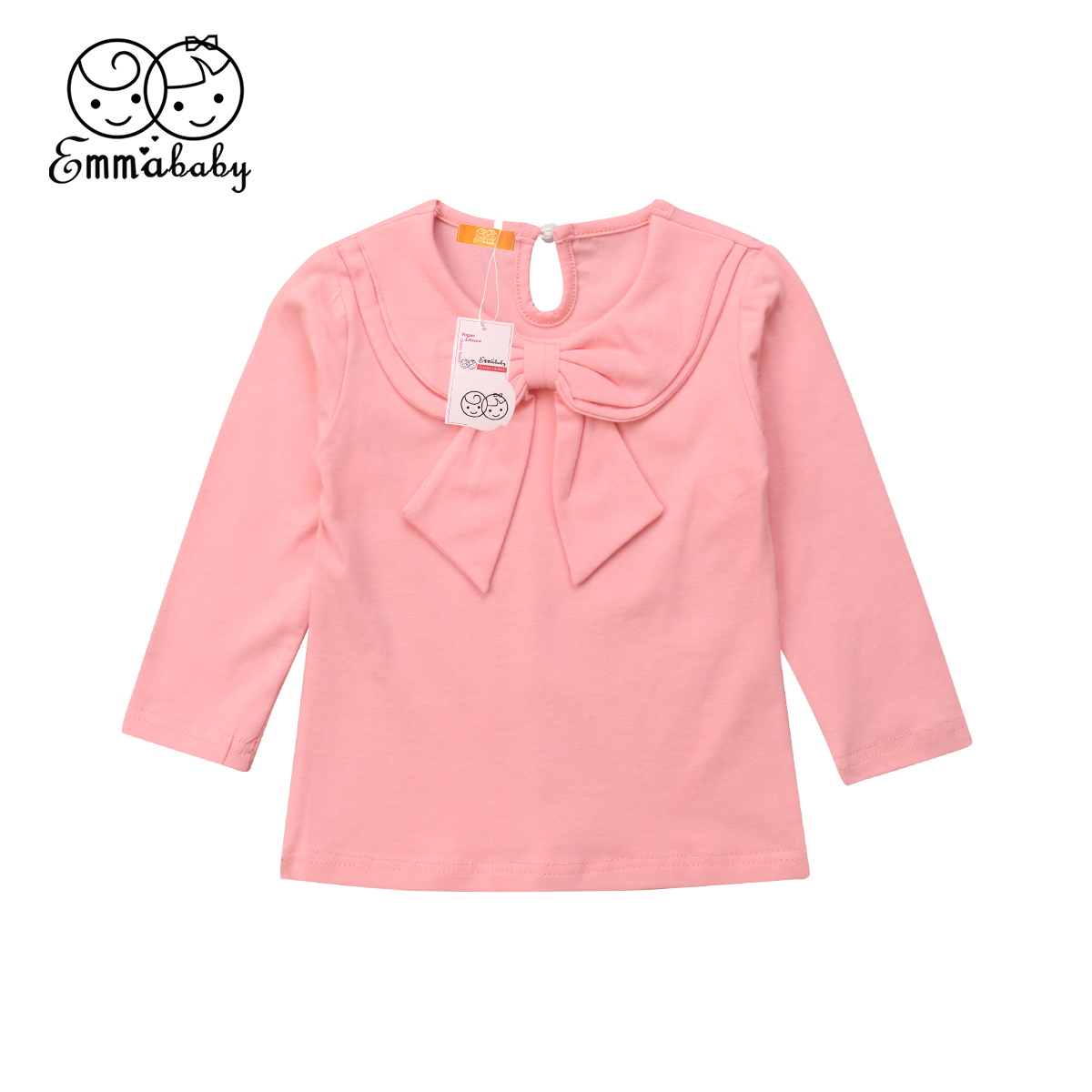 1pcs Toddler Kids Baby Girl Bowknot Peter Pan Collar Cotton T-shirt Long Sleeve