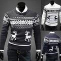 2016 Inverno New Fashion Man Marca Cervos Knitting Natal Camisola do Pulôver Men Manga Comprida Slim Fit Blusas O-pescoço