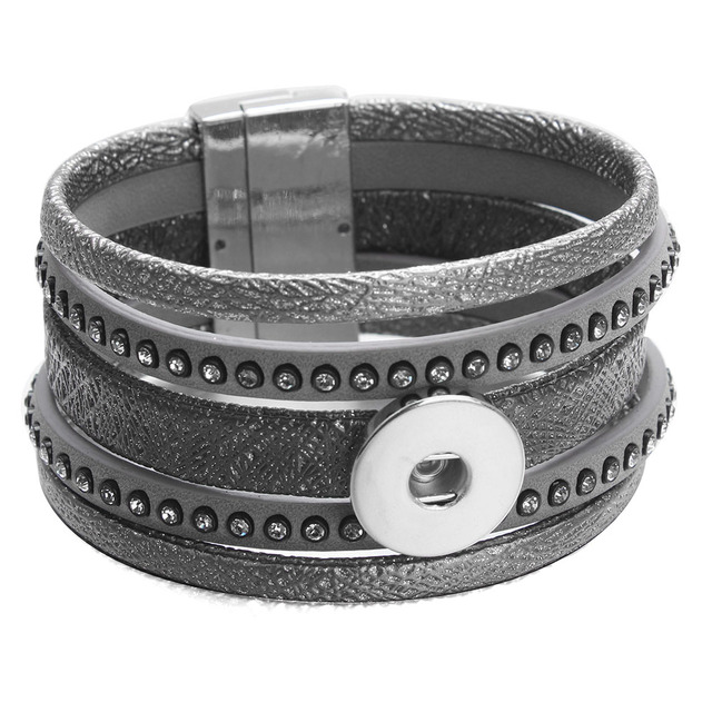 Newest Snap Jewelry 18mm Ons Bracelet Multilayer Gray Leather Crystal Magnetic Bracelets 20cm For