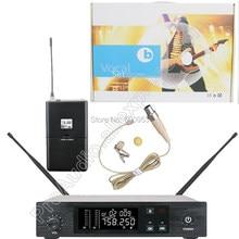 MICWL 6 Channel Beige Omnidirectional Wireless Lavalier Microphone System Stage Performance Singing Radio set