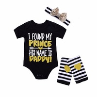 Mikrdoo Baby Girls Romper Summer Cute Short Sleeve Newborn Jumpsuit I Found My Prince His Name