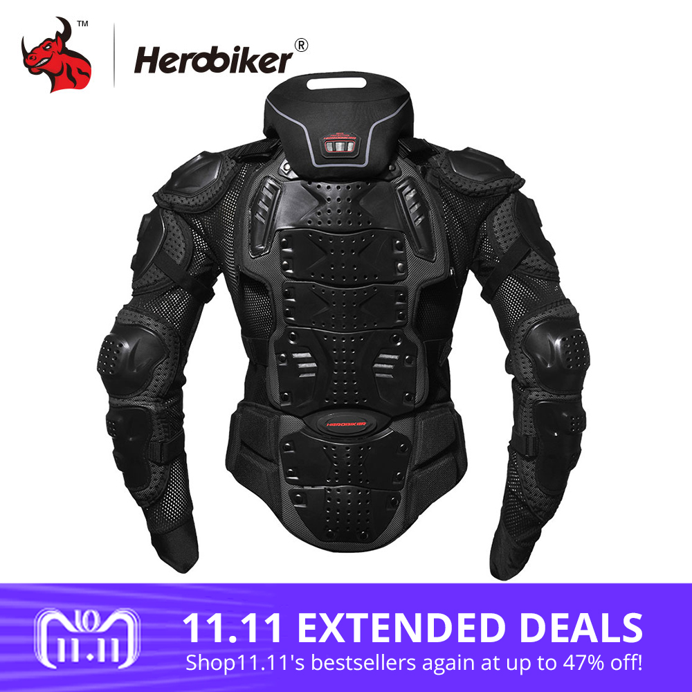 HEROBIKER Motorcycle Jackets Motorcycle Armor Racing Body Protector Jacket Motocross Motorbike Protective Gear + Neck Protector herobiker motorcycle jackets men motorcycle armor protection body protective gear motocross motorbike jacket with neck protector