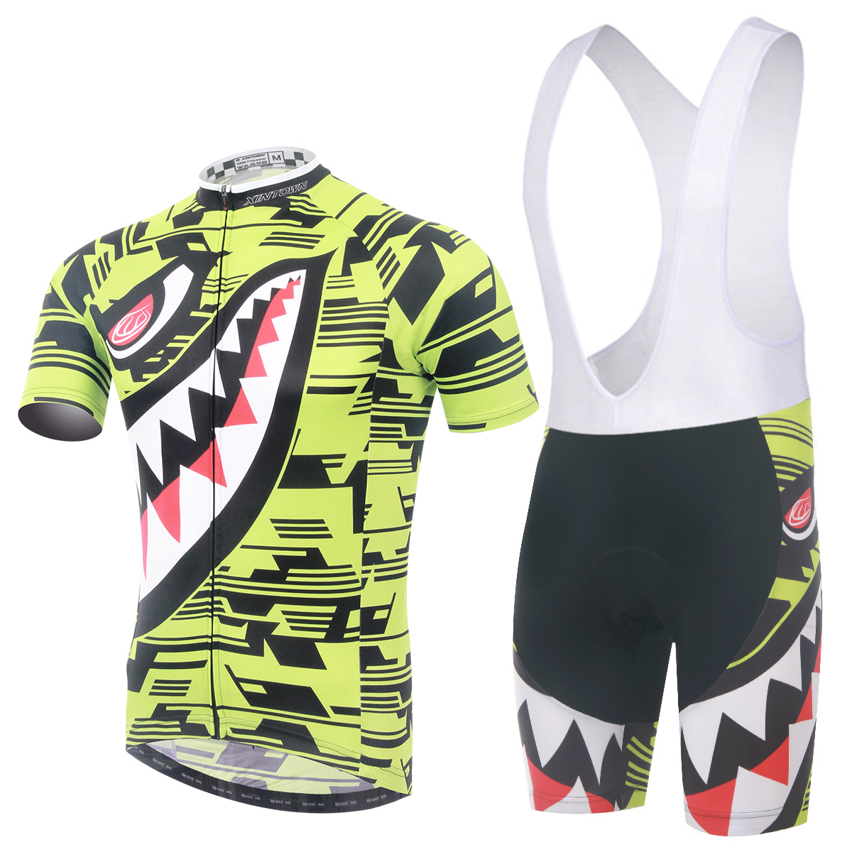 Cycling Set Men Summer Short Sleeve and Bib Shotrs New Yellow Shark Pattern Cool Breathable Bicycle Set Bike Clothing Ciclismo nuckily ma008 mb008 men short sleeve bicycle cycling suit