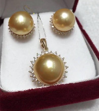 Eternal wedding Women Gift word 925 Sterling silver real The import of gift Kim natural seawater pearl earrings pendant necklace