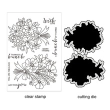 AZSG Blooming Flowers/Blooming Roses Cutting Dies Clear Stamps For DIY Scrapbooking/photo Album Decorative Silicone Craft Chapte