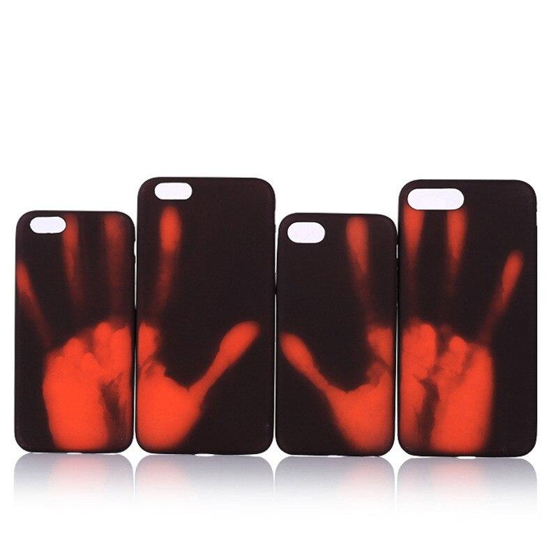 Цена за 100 шт. dhl смешные случаи для iphone 6 6s 7 тепловой датчик новые задняя крышка моды физической тепловой обесцвечивание телефон оболочки