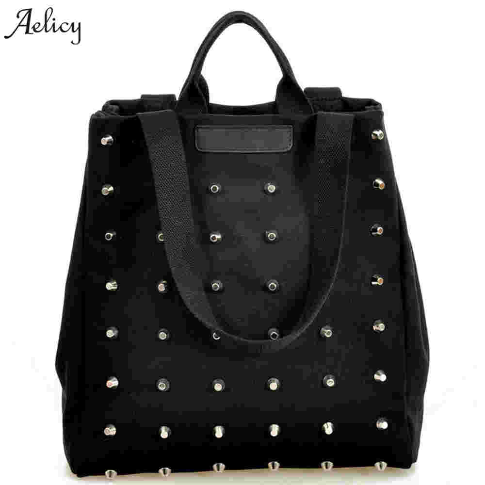 Fashion Ladies Top-Handle Hand Bag Rivet Women Handbag Casual Canvas Shoulder Bags Female Tote Book Black Sac A Main